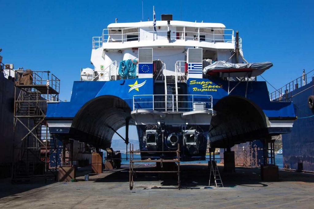«SUPERSPEED» Εντυπωσιακές εικόνες «Dry Dock» του Trimaran στα Ναυπηγεία του Spanopoulos Group 3, Αρχιπέλαγος, Ναυτιλιακή πύλη ενημέρωσης