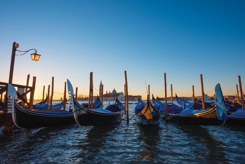 Venice Italy Gondola Boats At Seafront Near San Marco Square