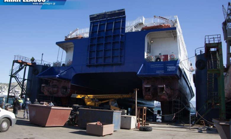 Photo of To Thunder της Fast Ferries στα Νέα Ελληνικά Ναυπηγεία Spanopoulos Group