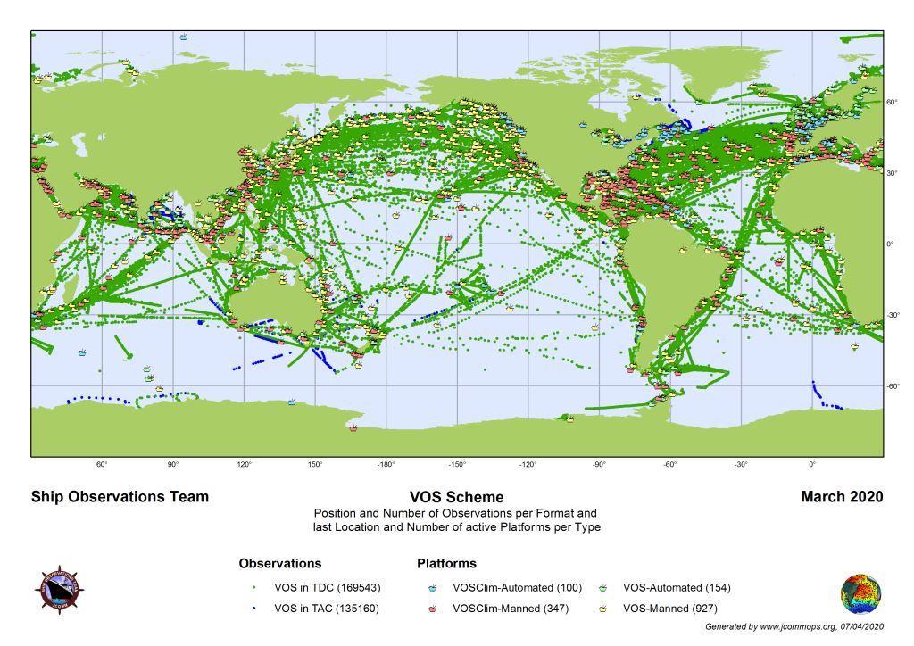Θέσεις Μετεωρολογικών Σταθμών Πλοίων του Προγράμματος VMO