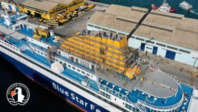 Blue Star Myconos Η πρόοδος των εργασιών στην τσιμινιέρα Photos 1, Αρχιπέλαγος, Ναυτιλιακή πύλη ενημέρωσης