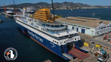 Blue Star Myconos Η πρόοδος των εργασιών στην τσιμινιέρα Photos 3, Αρχιπέλαγος, Ναυτιλιακή πύλη ενημέρωσης